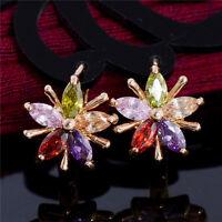 1 Pair New 18K Gold Plated Charm Flowers Style Cubic Zirconia Hoop Earrings