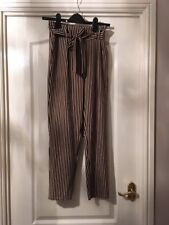 Primark Striped Paper bag trousers straight leg black brown white Size 8