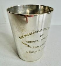 SUPERB OLD SILVER PLATED HOSPITAL OFFICERS TENNIS TOURNAMENT TANKARD - 1933