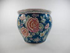 Vintage Oriental Asian Chinese Porcelain Koi Fish Bowl Jardiniere Planter Pot