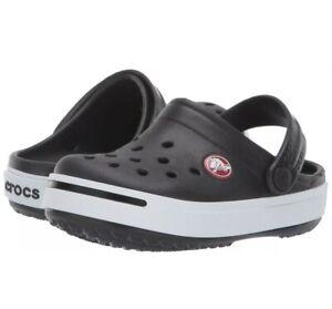 Crocs Crocband II Black White Clog 11990-066 Kids Juniors J2