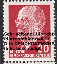 22) DDR Plf 848 II tiefst gep. Schönherr BPP Ulbricht Plattenfehler Rarität **