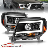 [LED C Light Bar]For 2005-2011 Toyota Tacoma Black Projector Headlights Pair