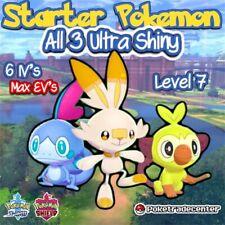 Pokemon Sword And Shield All 3 Ultra Shiny Starters /6Ivs/Max Evs/Pokerus/Level7