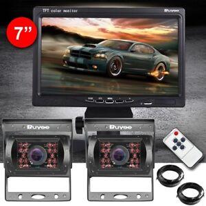 "2*IR 18 LED Reversing Camera+7"" TFT LCD Monitor Car Rear View Kit for Bus Truck"