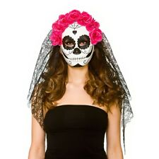 Deluxe Day of the Dead Mask with Veil Ladies Halloween Fancy Dress