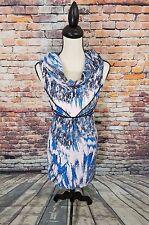 Twinkle by Wenlan NY Blue Pink SILK Sleeveless Cowl Neck Work Halter Dress Sz 6
