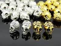 Solid Metal Rose Skull Head Bracelet Necklace Connector Charm Beads Silver Gold