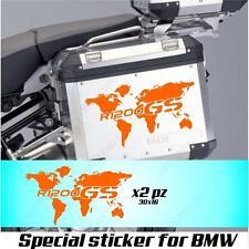 PAREJA ADHESIVOS GLOBO MUNDO BMW R 1200 GS AC PLANISFERIO PARA LOS CASOS NARANJ