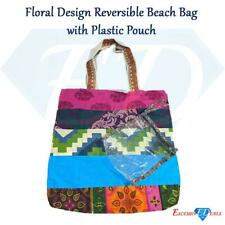 Floral Design Reversible Beach Shoulder Patterned Bag + Plastic Pouch (10)