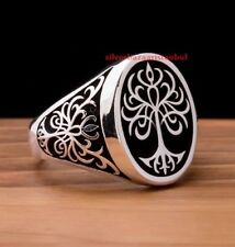 Tree of Life 925 Sterling Silver Turkish Handmade Statement Mens Ring All Size