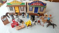 PLAYMOBIL WILD WEST SET WITH SHERIFF & BANK PLUS FIGURES SAFE MONEY WEAPONS