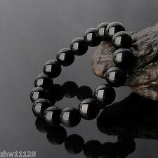 1PCS Natural Grade A Gold Obsidian Black Jade 10mm Beads Bangle Bracelet