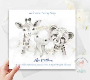 Baby Boy Card Handmade & Personalised New Born Its a Boy-Baby Gifts Animal Theme