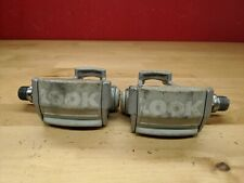 Vintage Look Clipless Road Bicycle Bike Cycling Pedals Used Gray K3