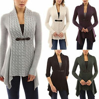 Womens V Neck Chunky Cable Knit Cardigan Ruffle Sweater Long Sleeves Jumper Coat