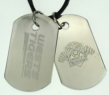 WEST TIGERS WESTS NRL MENS DOUBLE DOG TAG S/S LEATHER NECKLACE JEWELLERY