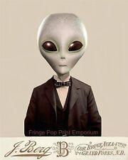 Victorian Alien Art Print 8 x 10 - Altered Art - Conspiracy - Illuminati Surreal