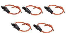 5 PC 16 GAUGE ATC FUSE HOLDER IN-LINE AWG WIRE COPPER 12 VOLT POWER BLADE