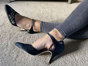 Clarks Womens Navy Blue Mary Jane Court Size 8 EUR 42 With Original Box