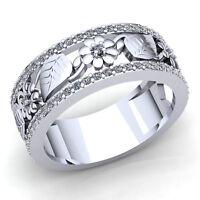 Genuine 3ctw Round Cut Diamond Ladies Bridal Flower Wedding Band Ring 14K Gold