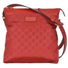 New Gucci Red GG Guccissima Nylon Medium Messenger Crossbody Bag 510342 6523