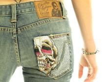 CHRISTIAN AUDIGIER Hearst Luxury Designer Women's Decorative Bootcut Skull Jeans