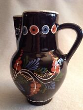 "Vintage Pitcher. Made In Hungary. Brown With Folk Art Pattern. 8.5"" Tall"