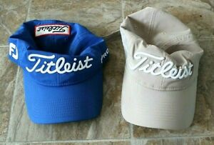 Lot of 2 TITLEIST Adjustable Golf Hats (Blue & Beige)