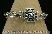 Rockabilly Schmuck Skull Biker Armband Kreuz in 925 Silber Totenkopf Geschenk