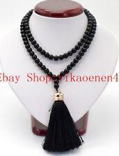 Fashion 8mm Black Agate Onyx Gemstone Beads 108 Prayer Beads Mala Necklace