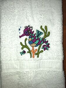 Embroidered White 100% Cotton Bathroom Hand Towel  Seahorse w Coral Grass HS1967