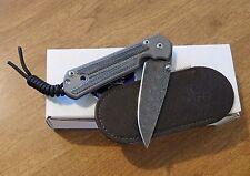 CHRIS REEVE Left Hand Micarta Small Sebenza 21 Raindrop Damascus Bl Knife/Knives