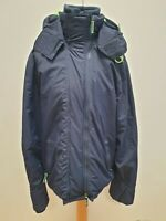 R913 MENS SUPERDRY NAVY BLUE WIND CHEATER ZIPPED HOODED JACKET UK L EU 54