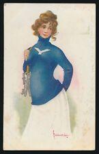 1905-1907 J.I. Austeen Postcard Co -YALE UNIVERSITY (Female Skater/Hockey Player