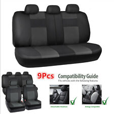 9x Luxury 5-Seats Car Seat Cover Artificial Leather Front&Rear Cushion Full Set
