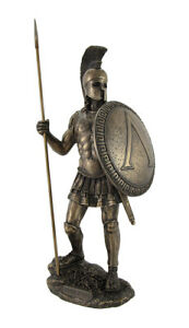 Bronzed Spartan Warrior with Spear and Hoplite Shield Statue