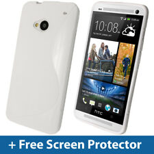White Dual Tone TPU Gel Case for HTC One M7 Android Skin Cover Shell Holder 1