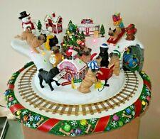 "Danbury Mint ""Pug Christmas Wonderland"" with moving Train & lights *read *Video"
