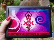 GODDESS GLASS TOPPED WOODEN TAROT BOX Wicca Witch Pagan Goth JEWELLERY BOX