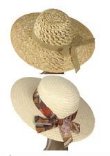 Damen Strohhut onesize Einheitsgröße aus echtem Stroh geflochten mit Hutband