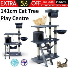 Cat Scratching Post Tree 141cm Scratcher Cats Kitten Activity Play Centre Cave