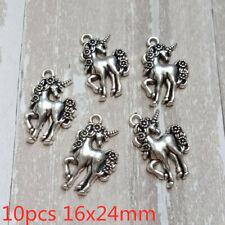 10pcs 16x24mm Unicorn Charms Antique Silver Tone Pendant Bead Jewelry Making DIY