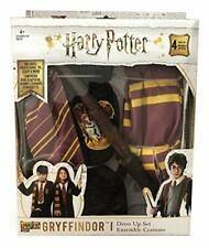 HARRY POTTER GRYFFINDOR COSTUME SET 4 PIECE ENSEMBLE HOODED ROBE TIE SCARF WAND