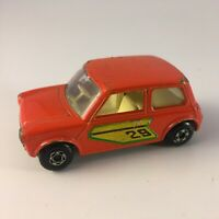 MATCHBOX SUPERFAST NO.29-B RACING MINI ORANGE BODY, GREEN LABELS CREAM INTERIOR
