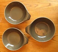 MCM Style Russel Wright Oneida lug handled 3 brown soup cereal bowls 7""