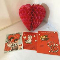 3 Vintage Valentines Greeting Cards & Paper Red Heart 1950's