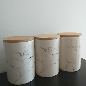 Ceramic Glossy Marble Effect Tea Sugar Coffee Jars Kitchen Storage Canisters New