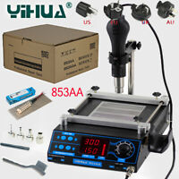 YIHUA 853AA LCD Adjustable Rework Soldering Station Hot Air Gun Preheating 220V