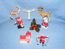 Vintage Christmas Cake Decorations Decoration Figure Ornament Plastic Church etc